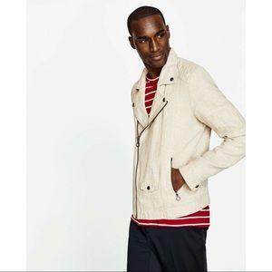 NWOT Zara Linen Biker Jacket